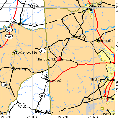 Hartly, DE map
