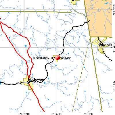 Woodland, AL map