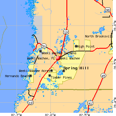 Weeki Wachee, FL map