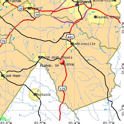 Bishop, GA map