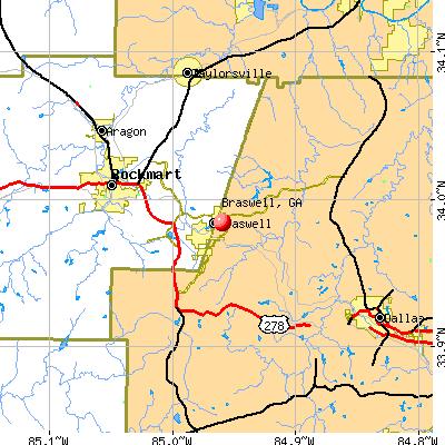 Braswell, GA map