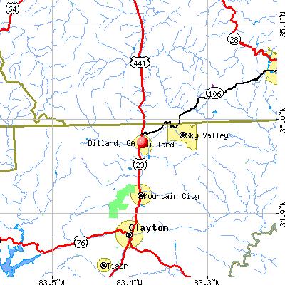 Dillard, GA map