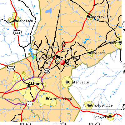 Hull, GA map