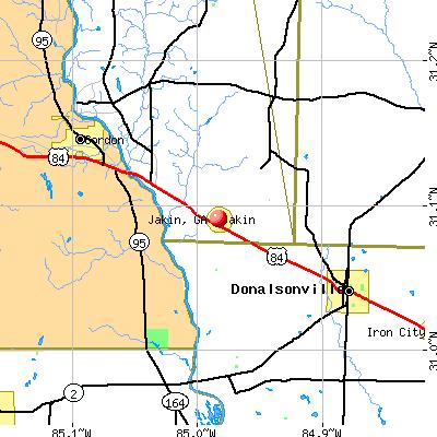 Jakin, GA map