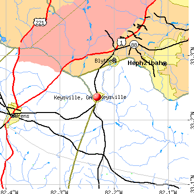 Keysville, GA map