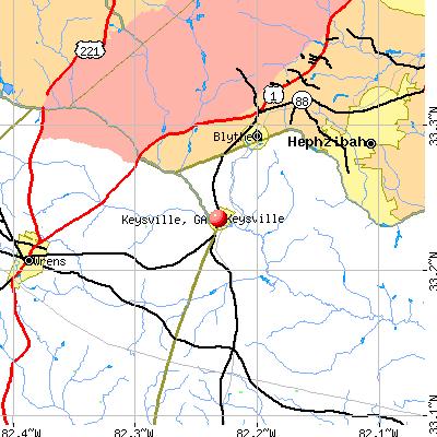 Keysville, GA map