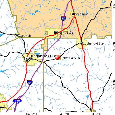 Lone Oak, GA map