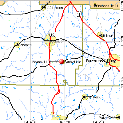 Meansville, GA map