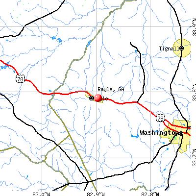 Rayle, GA map