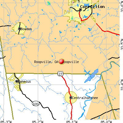 Roopville, GA map