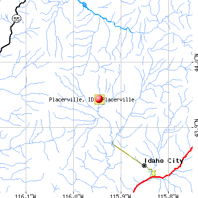 Placerville, ID map