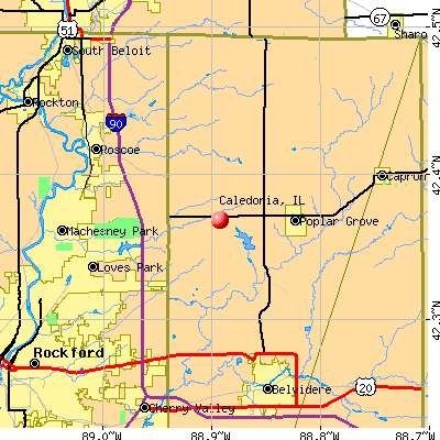 Caledonia, IL map