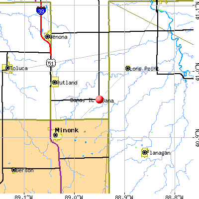 Dana, IL map