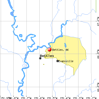 Bettles, AK map
