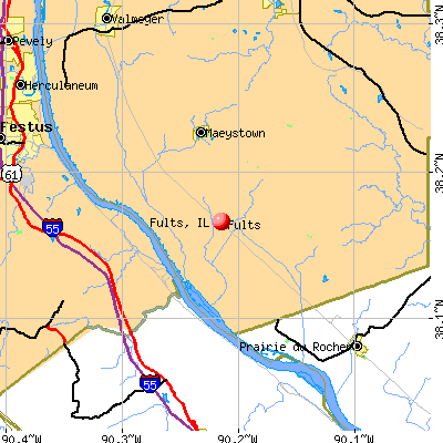 Fults, IL map