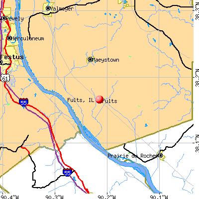 Fults, IL map