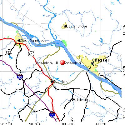 Kaskaskia, IL map