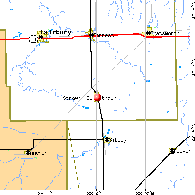 Strawn, IL map