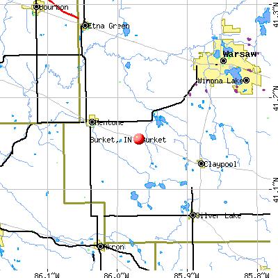 Burket, IN map