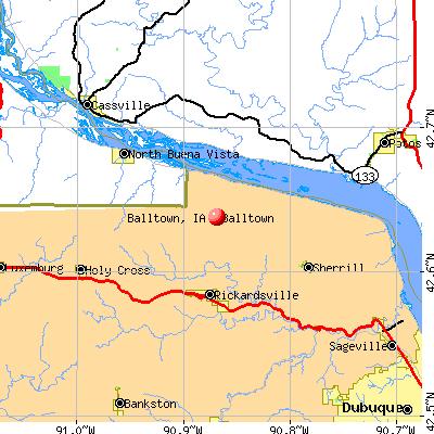 Balltown, IA map