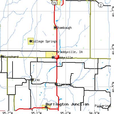 Braddyville, IA map