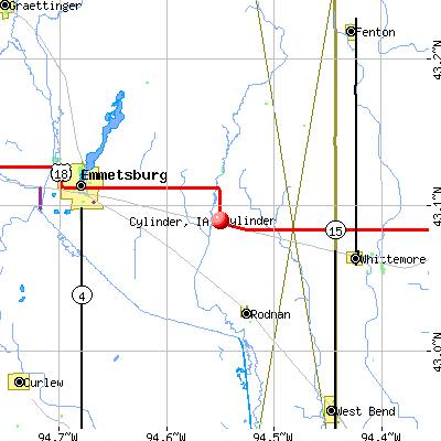 Cylinder, IA map