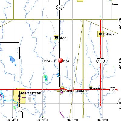 Dana, IA map