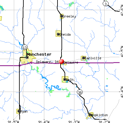 Delaware, IA map