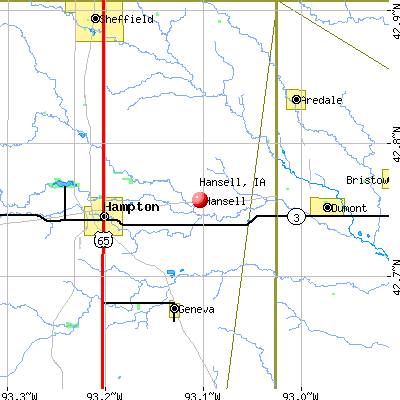 Hansell, IA map