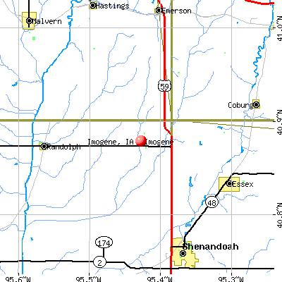 Imogene, IA map