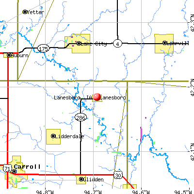 Lanesboro, IA map