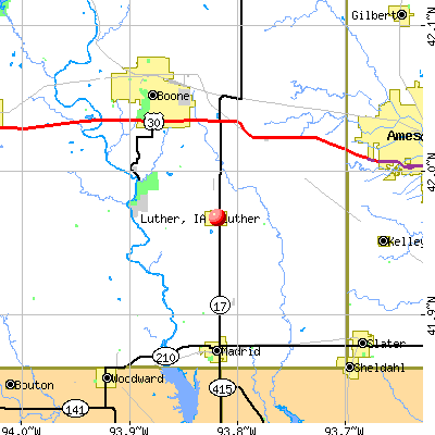 Luther, IA map