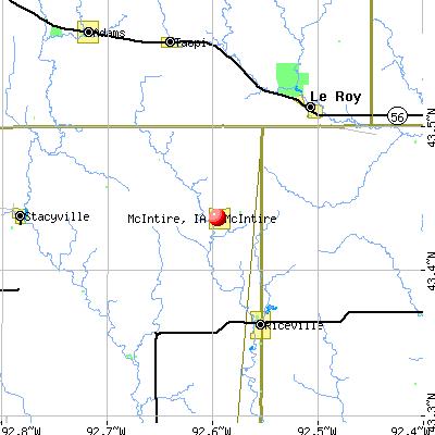 McIntire, IA map