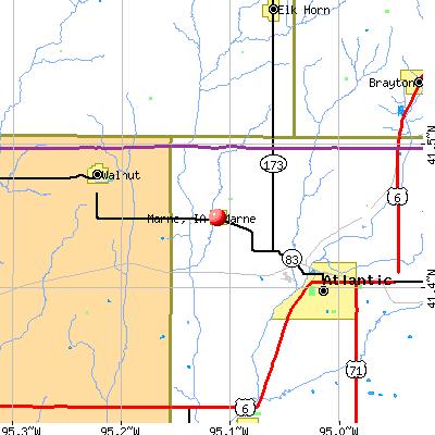 Marne, IA map