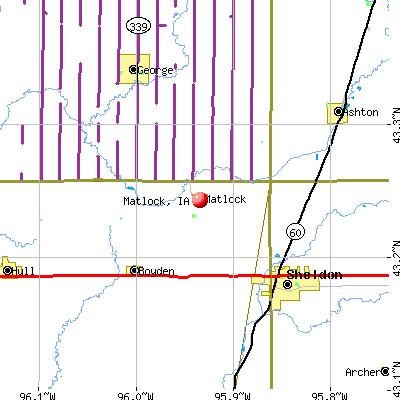 Matlock, IA map