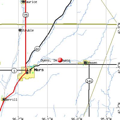 Oyens, IA map