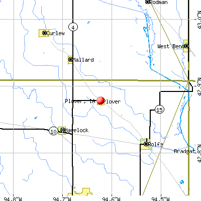 Plover, IA map
