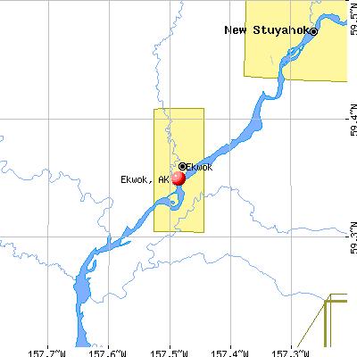 Ekwok, AK map