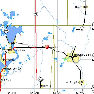 Superior, IA map