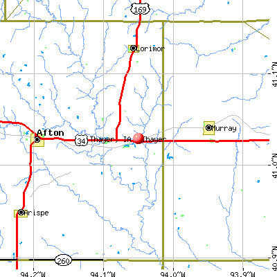 Thayer, IA map