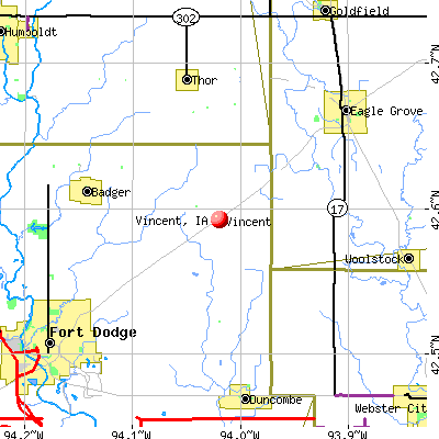 Vincent, IA map