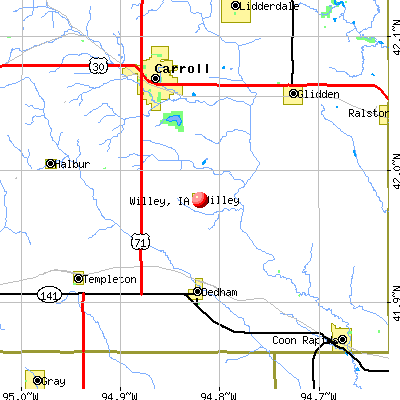 Willey, IA map