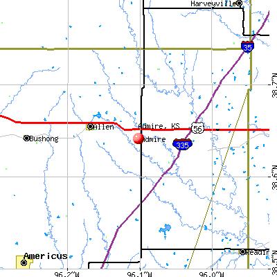 Admire, KS map