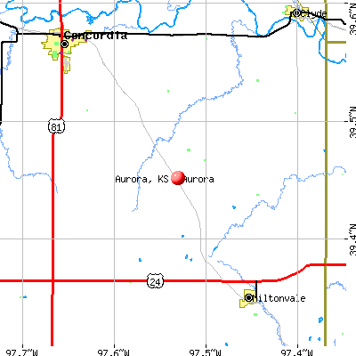 Aurora, KS map