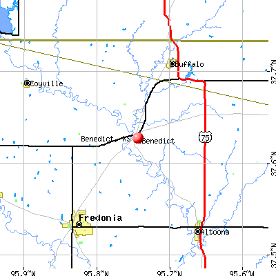Benedict, KS map