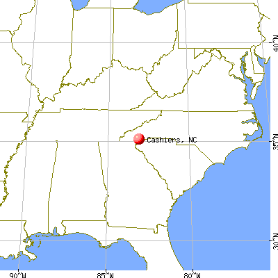 Cashiers, North Carolina map