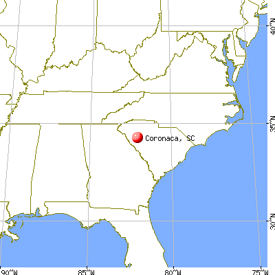 Coronaca, South Carolina map