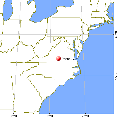 Phenix, Virginia map