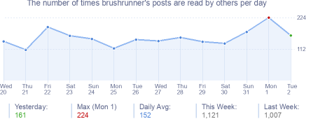 How many times brushrunner's posts are read daily