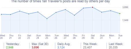 How many times Tall Traveler's posts are read daily